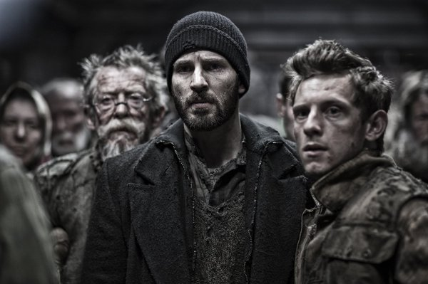 Chris Evans and Jamie Bell in Snowpiercer